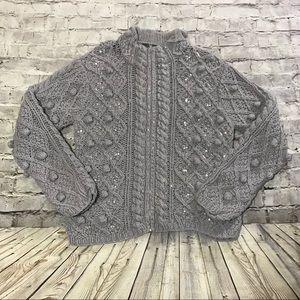 Folio Saks Fifth Avenue Pom Pom Zipper UP Sweater